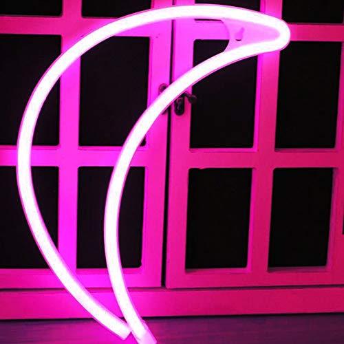 XIYUNTE Rosa Mond Neonlicht Zeichen - LED Neonlicht Zeichen Zimmer Dekor Wandleuchten, Batterie und USB betrieben Neonröhren für Schlafzimmer, Wohnzimmer, Hochzeit, Weihnachtsgeschenk (Tropische Zimmer Dekor)