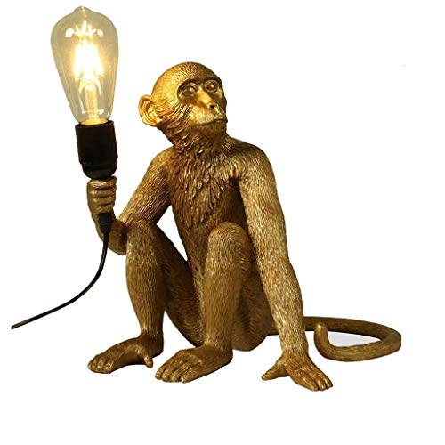 Moderne Affe Tischlampe kreative Harz Sitzen Affe Nachttischlampe Wohnzimmer Schreibtisch Lights Industrie LOFT Tier Restaurant Lighting (Color : Gold)