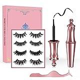 Fau Cils Magnétique, HSDOHGY Eyeliner Magnétique, 5 Aimants Faux-cils Sans Colle Eyeliner 3D Liquides Imperméable [4 Paires]