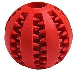 Vicstar Hundeball - Dentalball Naturkautschuk für Besonders Hohen Spiel-Hundespielzeug Ball mit Leckerli Loch Spielzeug für Hunde - Hundespielball für große & kleine Hunde - Rot