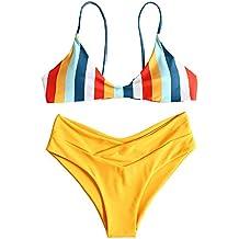 347d0db3a5 ZAFUL Set de Bikini a Rayas Push Up Bralette Anudados en la Espalda Traje  de Baño