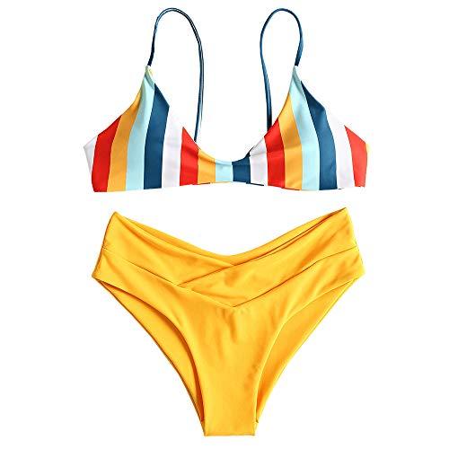 ZAFUL Set de Bikini de Rayas Multicolor Bralette sin Aros Mujer Verano 2019 Amarillo, S