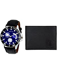 Golden Bell Trendy Blue Dial Analog Wrist Watch For Men With Free Black Men's Wallet - GB-833