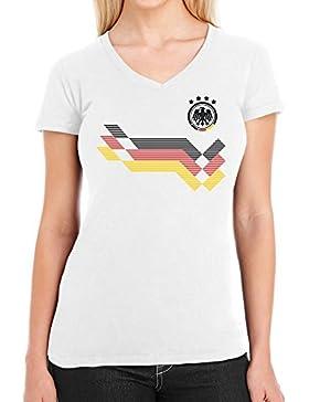 Shirtgeil Maglia Donna - Coppa del Mondo Fan Germania Maglietta da Donna con Scollo a V
