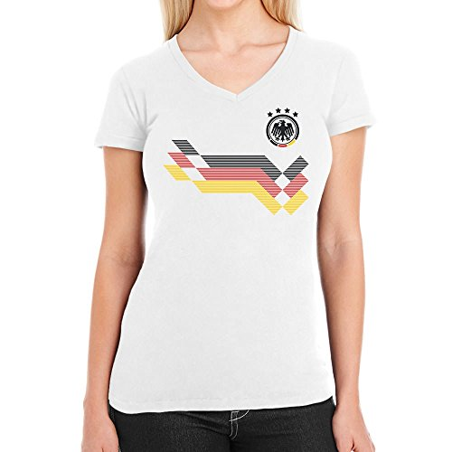 Shirtgeil maglia donna - coppa del mondo fan germania maglietta da donna con scollo a v small bianco