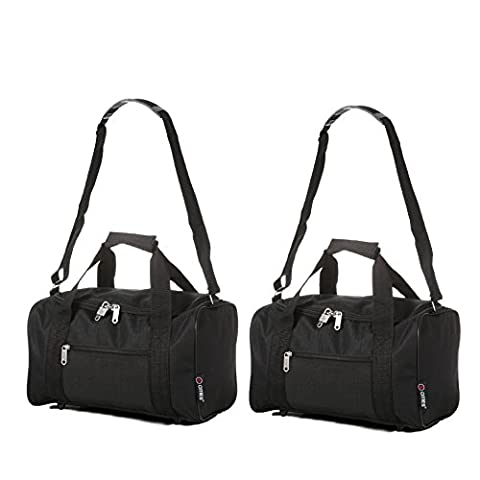 5 Cities 35x20x20 Ryanair Main Cabin Hand Luggage Holdall Flight Bag, Black Set of 2
