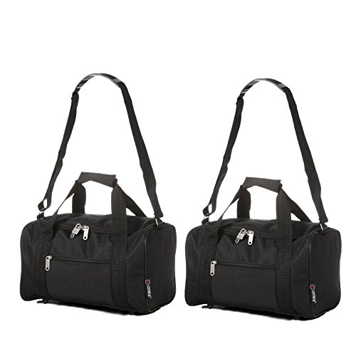 5 Cities Small 35 x 20 x 20 cm Ryanair Second Cabin Hand Luggage Holdall Flight Bag, Black Set of 2