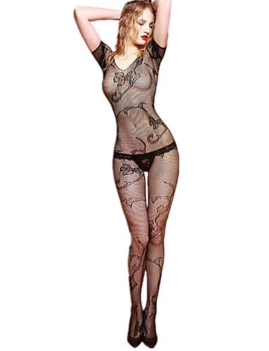 HJL Da donna Completi Indumenti da notte Rayon Elastene-Sexy Jacquard , black , one-size black