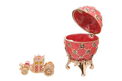 Russische Fabergé-Stil Ei / Schmuckkästchen mit Kutsche & Doppelköpfiger Adler 6,5 cm rosa -