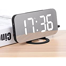 Réveil Numérique LED Miroir Horlogue Digital Réveil de Chevet Réveil Matin Miroir Maquillage Fonction Snooze, Lumière de Nuit, Luminosité Réglable, Double Ports USB Charger Téléphones Intelligents