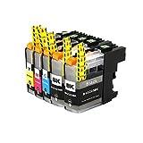 10x kompatible Tintenpatronen für Brother LC121 LC123 DCP J132 W DCP J150 DCP J152 W DCP J152 WR DCP J4110 DW DCP J4110 W DCP J552 DW DCP J752 DW - Sparpack - Eco Office Serie - 4x Black 2x Cyan 2x Magenta 2x Yellow
