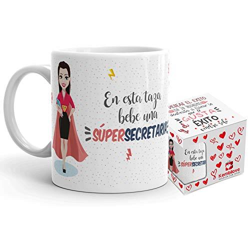 Kembilove Taza de Café de Secretaria - En Esta Taza Bebe una Súper Secretaria - Taza de Desayuno para la Oficina - Taza de Café y Té para Profesionales - Tazas para Secretarias de Superhéroes