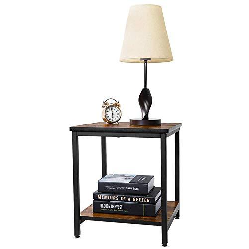 LARRY SHELL Moderne Beistelltisch, Holz 2 Beistelltisch/Kaffee Tee Tisch mit Lagerung offenes Regal Naturholz einfache Montage, für Wohnzimmer Schlafzimmer - Schlafzimmer-modern-kaffee-tisch