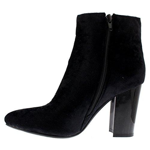 Damen Elegant Block-Ferse Spitze Kleid Mode Modisch Herbst Stiefeletten Schwarz