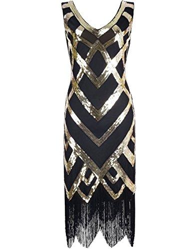 r V-Ausschnitt Pailletten Perlen Verschönerung Gatsby Flapper Kleid L Gold (Gold Flapper)