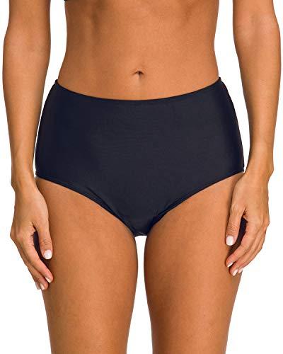 StarTreene Damen Bikini-Hose mit hoher Taille, Geraffter Tankini - - 38 DE/Medium -