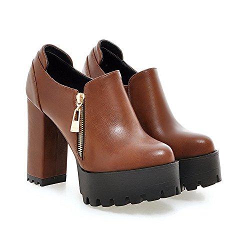 balamasa pour femme Fermeture Éclair Round-Toe imitation cuir pumps-shoes Jaune