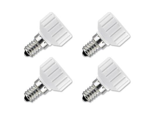 Preisvergleich Produktbild Lunartec LED Adapter: Lampensockel-Adapter Adapter E14 auf GU10, 4er-Set (Adapter für LED Lampen)