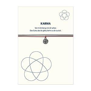 Glücksschmiedin Karma – Armband SEI IM EINKLANG MIT DIR SELBST mit Knoten Anhänger versilbert, mit 2 auswechselbaren Bändern und liebevoller Karte