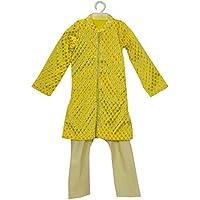 Little Emporio Sherwani pigiama progettista del neonato di usura giallo abito di broccato