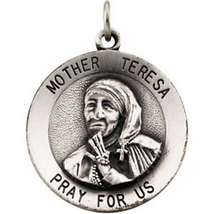 Sterling Argento 18mm Madre Teresa Medaglia Ciondolo Rotondo 18
