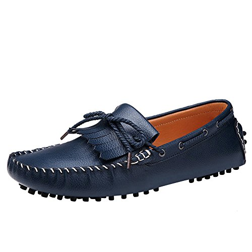 XiaoYouYu Moccassins Homme Cuir Plats Slip-on Loafers Loisirs Chaussures de conduite bleu royal