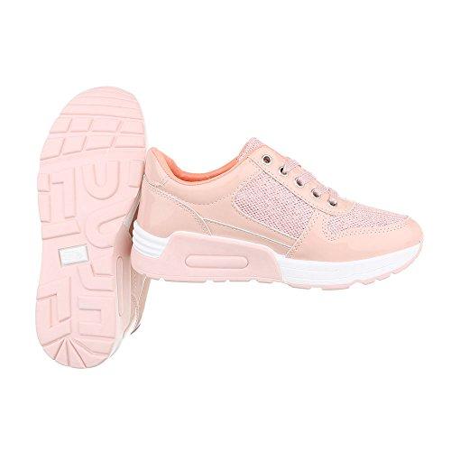 Schnürsenkel top Ital design Sneakers Damenschuhe Low Rosa Sneaker Freizeitschuhe qxwI1