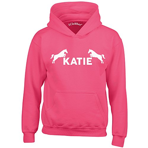 41qbp1zW2bL BEST BUY UK #1iClobber Horse Riding Hoodie for Girls Boys Kids Personalised with Your Name or Club Name Horses Design Age 7 8 Pink price Reviews uk