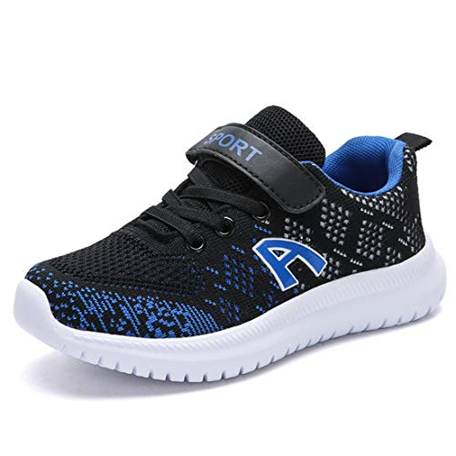 Unpowlink Kinder Schuhe Sportschuhe Ultraleicht Atmungsaktiv Turnschuhe Klettverschluss Low-Top Sneakers Laufen Schuhe Laufschuhe für Mädchen Jungen 28-37, Schwarz Blau A, 38 EU