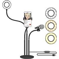 Neewer LED Selfie Anillo Luz con Soporte de Teléfono Movil y Micrófono para Transmisión en Vivo, Youtube Video, Modo 3-Luz, Giro de 360-grado para iPhone, Samsung, HTC(Micrófono, Teléfono No Incluido)