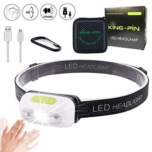 King-Pin Lampada da Testa LED Lampada Frontale - USB Ricaricabile Impermeabile Leggero Mini Lampada da Testa, 7 modalità, Facile da Usare Perfetta per Correre, Camminare, Campeggio