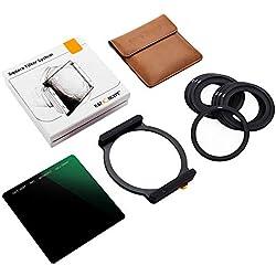 K&F Concept Filtre ND1000 Carré 100 X 100 mm et Porte Filtre avec 7 Bagues Adaptateurs Inclus