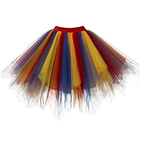 DresseverBrand Damen Petticoat 50er Rockabilly Jahre Retro Tutu Ballet Tüllrock Cosplay Crinoline rot-blau-gelb ()