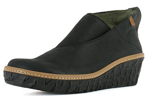 El Naturalista N5131 Myth Yggdrasil Komfortabler Damen Chelsea Boot, Stiefelette, Schlupfstiefel, perfekte Passform durch Gummizug, Keilabsatz, Wedge Absatz Schwarz (Black), EU 40