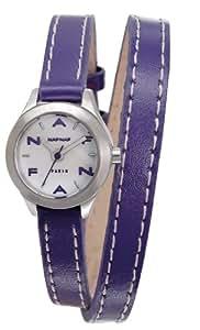 Naf Naf - N10112-208 - Minny - Montre Femme - Quartz Analogique - Cadran Nacre - Bracelet Cuir Violet
