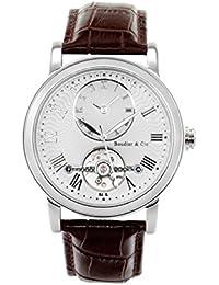 Boudier & Cie B15H3- Reloj analógico de pulsera para hombre (automático), correa de cuero café/marrón