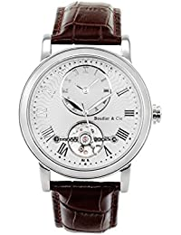 Boudier & Cie Herren-Armbanduhr Automatik Analog Leder Braun - B15H3