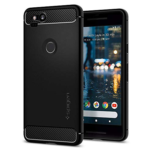 Spigen [Rugged Armor Google Pixel 2 Hülle (F16CS22271) Karbon Look Elastisch Stylisch Handyhülle Soft Flex TPU Silikon Schutzhülle Case [Schwarz]