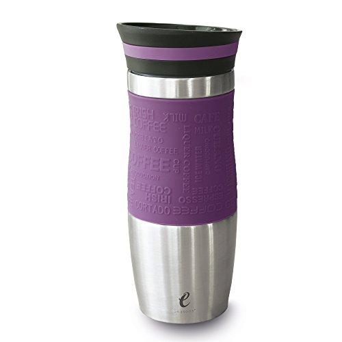 eSeasons Thermobecher Vakuum Isolier-Flasche Kaffee Edelstahl BPA frei 370ml Violet