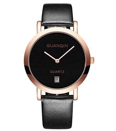 GUANQIN Studente signora semplice orologio al quarzo in pelle nera Cinturino ultrasottile Guarda , 1