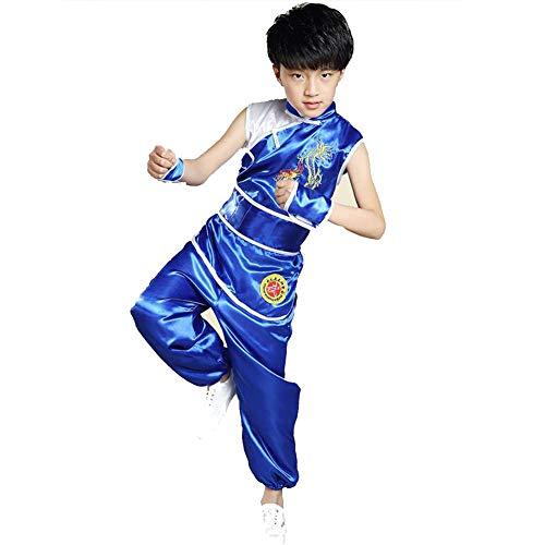Drachen Kostüm Chinesischen Kindes - AMhuui Tai Chi Kleidung Chinesische Kleidungsstück Kinder, Drachen Chinesische Uniform Outfit Kung Fu Meister Tai Chi Kostüm Top Shirt Hosen Set,Blue,140cm