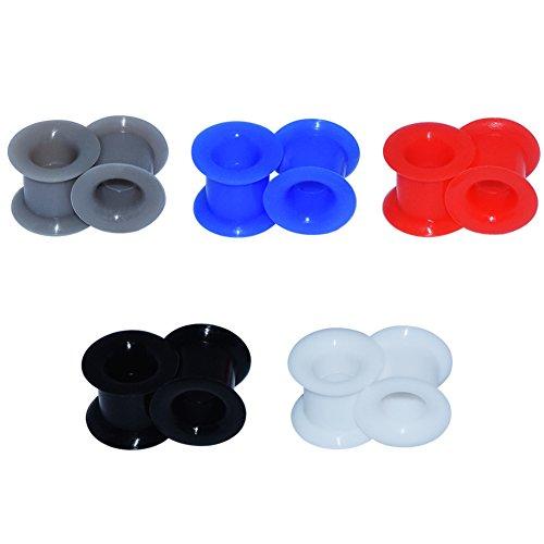 D&M Jewelry 10 Piezas de Silicona Espesa Flexible Expansor de Túnel de Mezclados 5 Colores Ear Plug Pendientes de Oreja Piercing 4mm