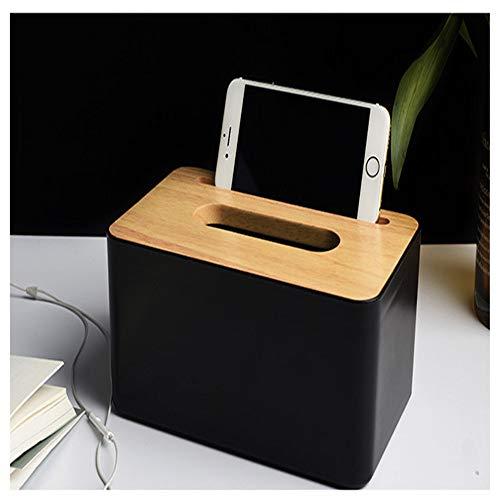 HGFCTNY Seidenbehälter mit Halter Holzabdeckung Sitzrolle Papier Seidenbehälter Pads Aufbewahrungsbox (Gewichtete Papier-handtuch-halter)