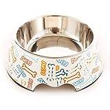 Ciotola per Cibo per Cani in Acciaio Inox di Orso/Teddy Dog / Cat Bowl Staccabile in Bianco Doppio (17.5 * 22 * 7.5cm)