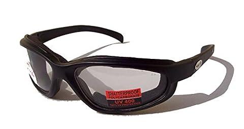 Curv'Z rembourré Lunettes de moto/motard lunettes de soleil avec verres transparents