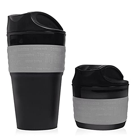 Grey, Collapsible Travel Cup, Mug - High Quality Silicone Travel Mug, BPA Free. An Excellent Gift