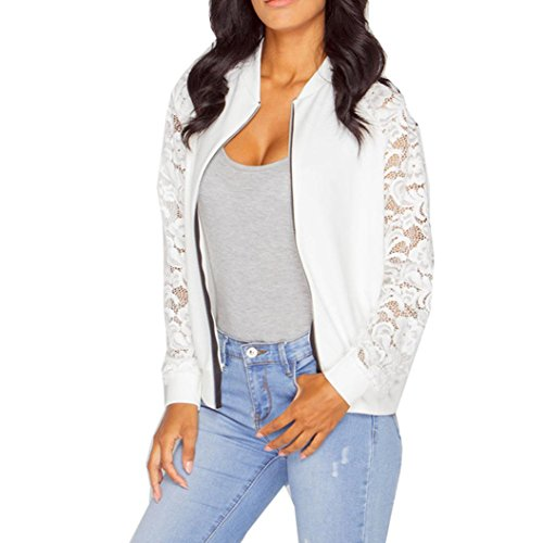 Damen Jacken, GJKK Damen Mode Lange Hülsen Spitze Blazer Klage beiläufige Jacken Mantel (S-XXL) (Weiß, L) - Kapuze Lederjacke Mit Weiße