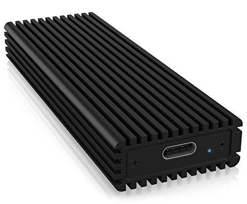 ICY BOX M.2 NVMe SSD Gehäuse, USB-C 3.1 Anschluss (Gen2, 10 Gbit/s), PCIe M-Key, Aluminium, schwarz - 2 Komplett-box