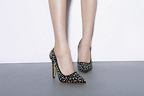 Aisun Damen Elegant Strass Künstlich Perlen Low Cut Spitz Stiletto Pumps Schwarz