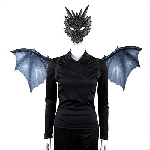 Kostüm Party Animal - Proumhang Set Drachenmaske Flügel Erwachsene Party Cosplay Halloween PU Vlies Karneval Party Animal Kostüm Maskerade-Schwarz (95 * 45 cm)